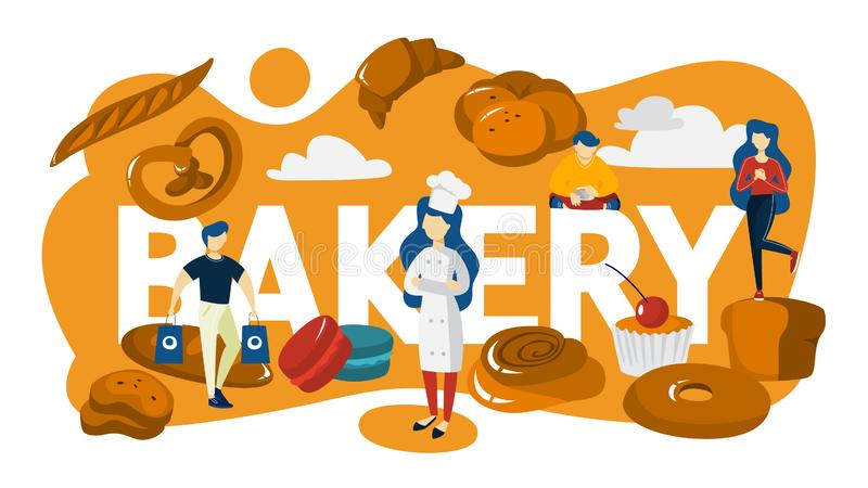 Bakery banner. People standing around baked food. Bakery banner concept. Small people standing around baked food. Fresh tasty good shop. Delicious bread, pie and stock illustration