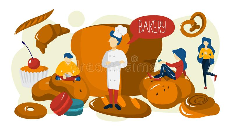 Bakery banner. People standing around baked food. Bakery banner concept. Small people standing around giant baked food. Fresh tasty good shop. Delicious bread vector illustration