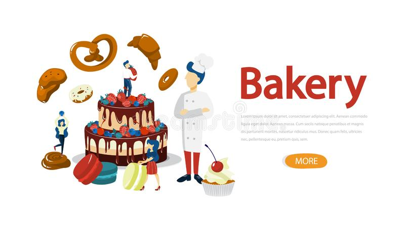 Bakery banner. People standing around baked food. Bakery horizontal banner concept. Small people standing around giant baked food. Fresh tasty goods shop royalty free illustration