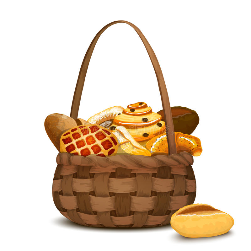 Bakery In Basket vector illustration