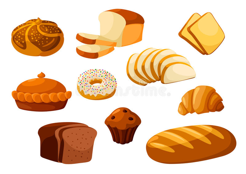 Bakery bread isolated vector icons. Bakery shop isolated vector flat icons. Baked bread products wheat, rye bread loafs, bagels, sliced bread toasts, croissant vector illustration
