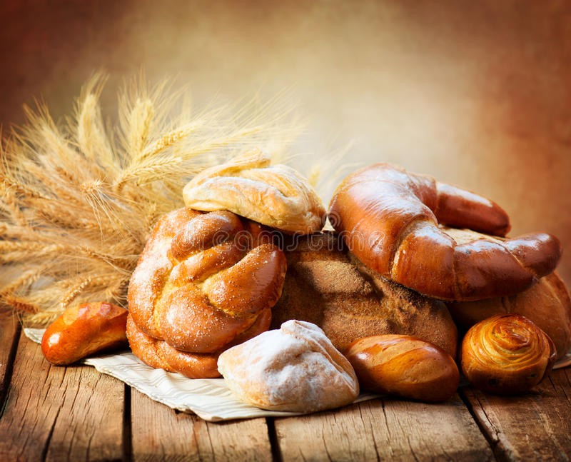 Bakery Bread on a Wooden Table stock photo
