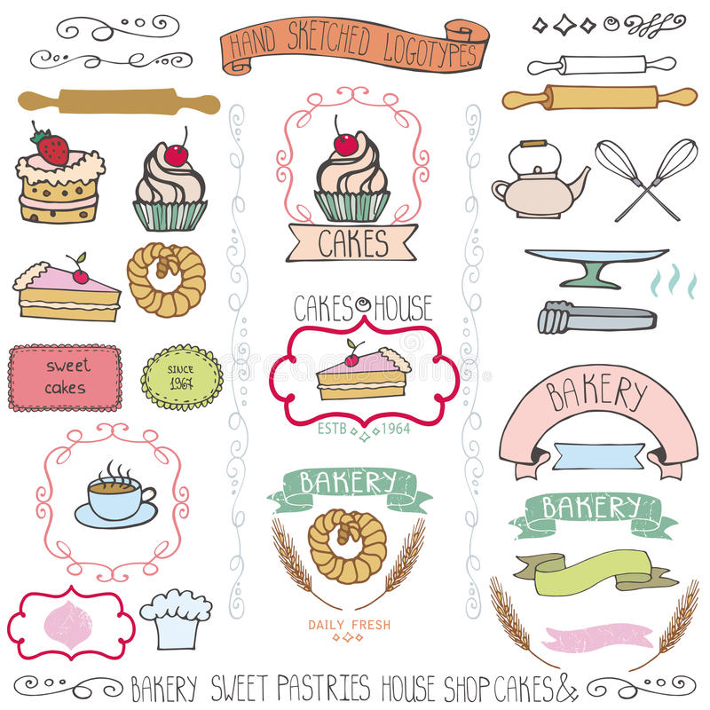 Bakery cakes labels elementsdoodle logo template stock for Cake labels template