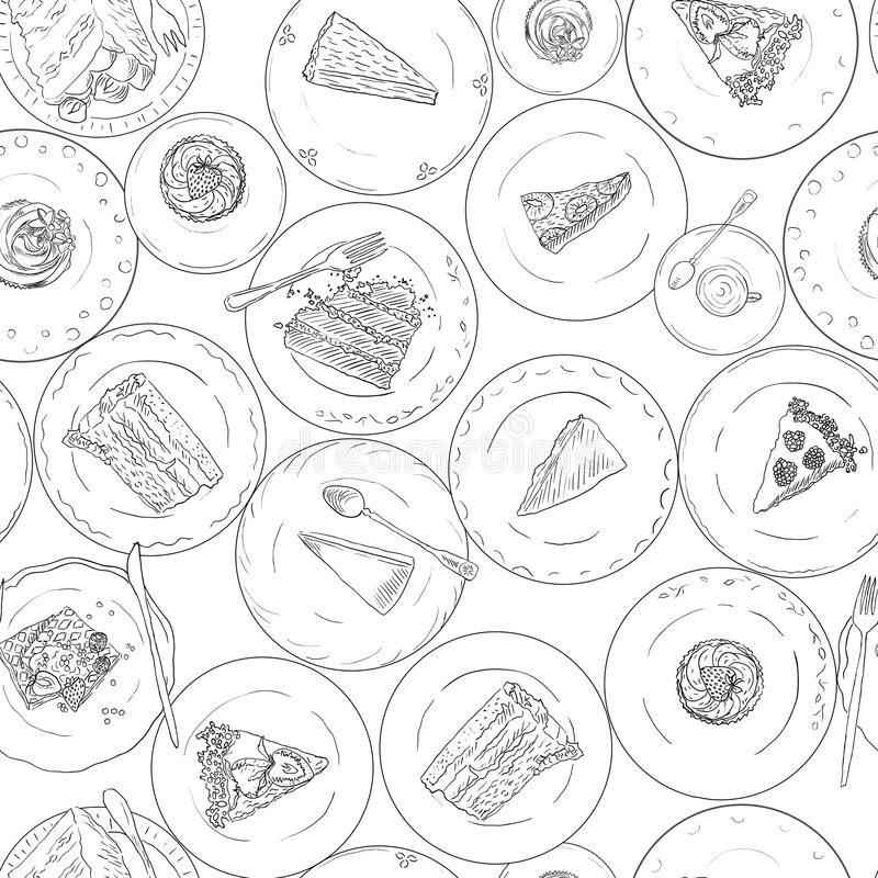 Bakery, Cakes, pastries linear seamless pattern. Sweet elements background. Hand drawn backdrop dessert on plate royalty free illustration