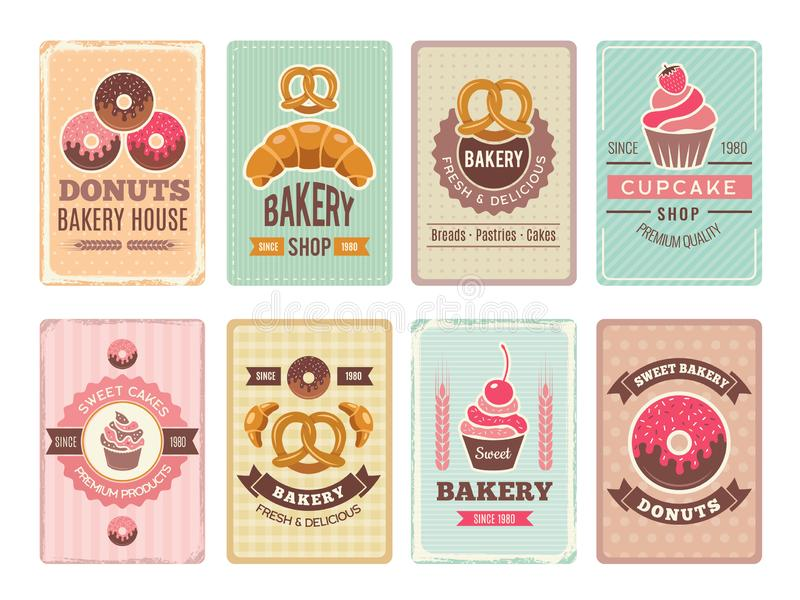Bakery cards design. Fresh sweet foods cupcakes donuts and other baking products illustrations for vintage vector menu stock illustration