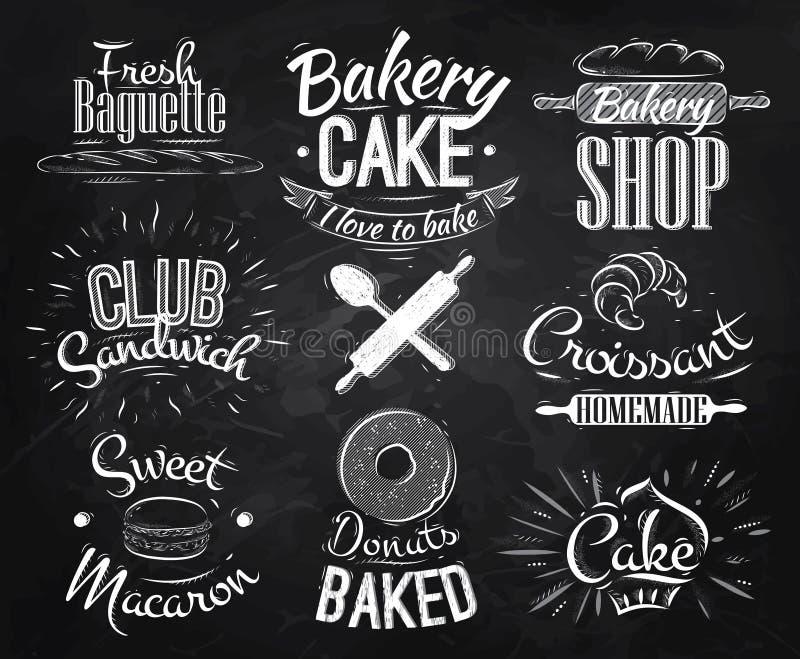 Bakery characters chalk vector illustration
