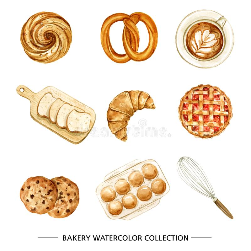 Free Bakery, Coffee Illustration Design With Watercolor On White Back Stock Images - 164418684
