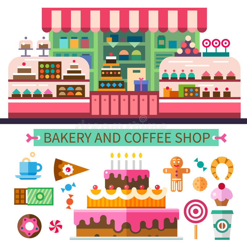 Bakery and coffee shop. Cafe interior. Cakes, candy, cookies, sweets, coffee. Vector flat illustrations vector illustration