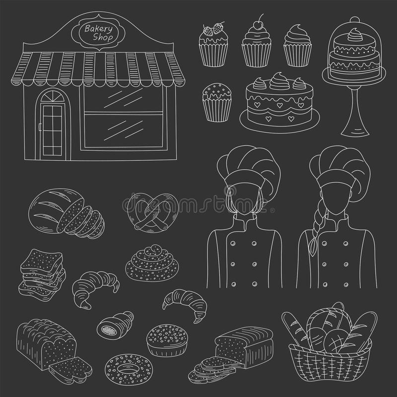 Bakery collection, hand drawn doodle style vector illustration stock illustration