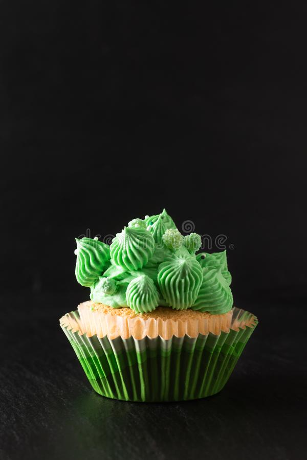 Bakery concept Homemade Sponge vanilla cupcake green tone buttercream on black background with copy space stock photos