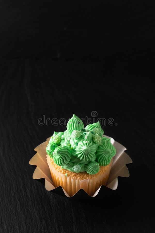 Bakery concept Homemade Sponge vanilla cupcake green tone buttercream on black background with copy space royalty free stock photo