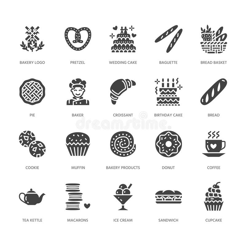 Bakery, confectionery flat glyph icons. Sweet shop products cake, croissant, muffin, pastry cupcake, pie. Food signs stock illustration