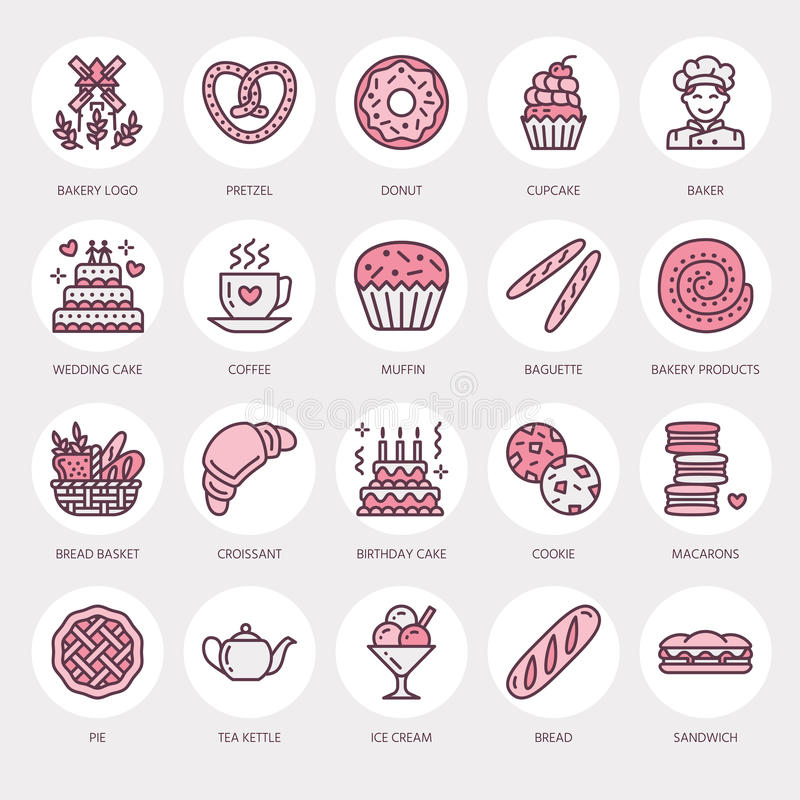 Bakery, confectionery line icons. Sweet shop product - cake, croissant, muffin, pastry, cupcake, pie Food thin linear royalty free illustration