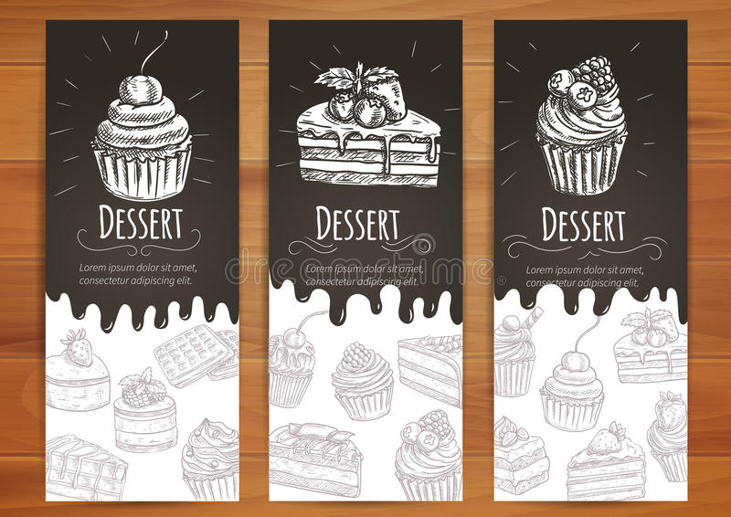 Bakery, confectionery, pastries, desserts poster stock illustration