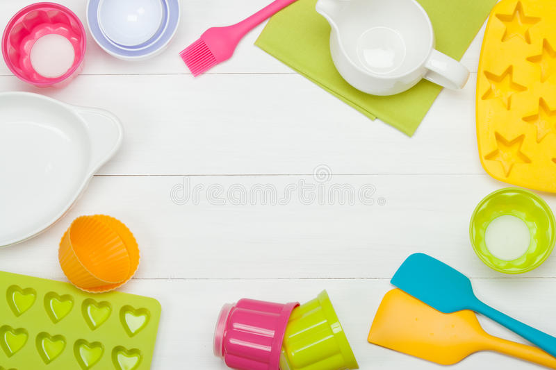 Bakery And Cooking Tools. Silicone Moulds, Cupcake Cases. Measur royalty free stock photo