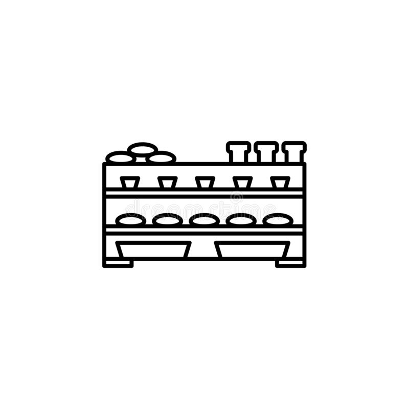bakery counter outline icon. Element of shopping icon for mobile concept and web apps. Thin line bakery counter icon can be used f vector illustration