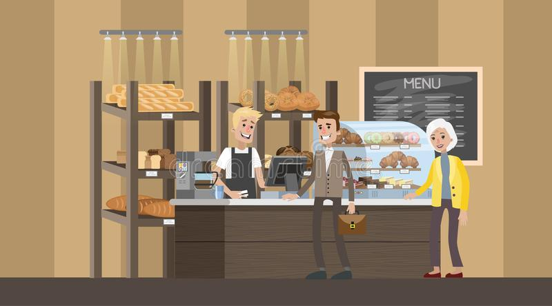 Bakery counter with showcase full of baked goods. Bakery interior with clients. Shop counter with showcase full of baked goods. People standing in line for bread stock illustration