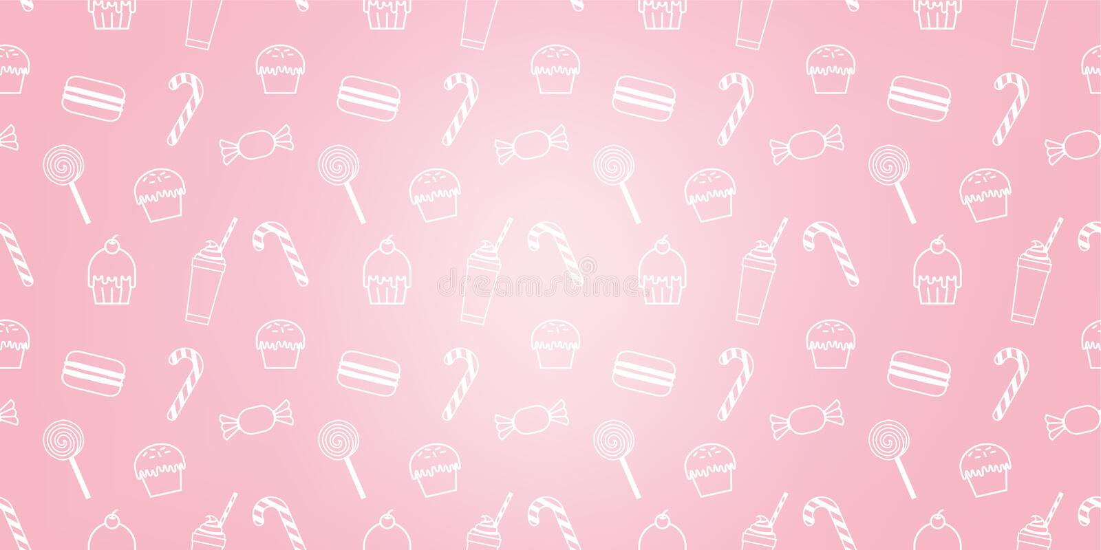 Bakery cute cupcake candy milkshake macaroon sweet pink icon cafe pattern background vector illustration