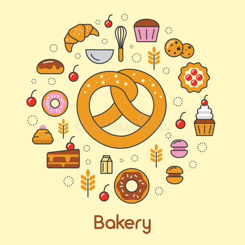 Bakery and Desserts Line Art Thin Icons Set with Croissant and Cookies. Bakery and Desserts Line Art Thin Vector Icons Set with Croissant and Cookies vector illustration