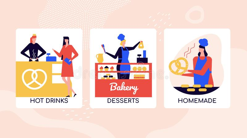 Bakery desserts shop vector colorful banner template. Businesswoman buying coffee-to-go at hot drinks cafe. Confectionery store selling cupcakes, cakes. Mother vector illustration