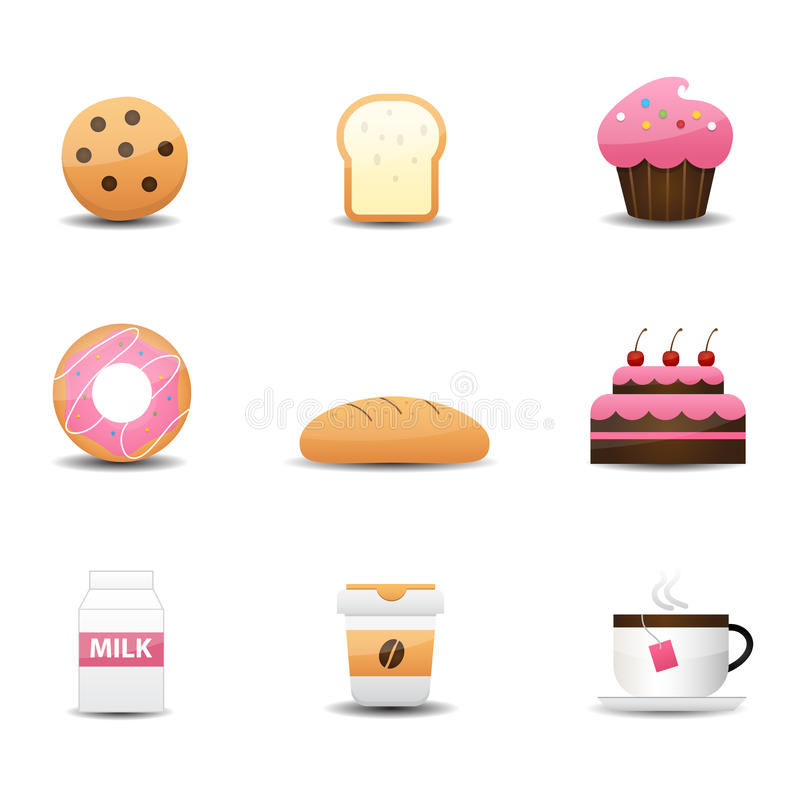 Bakery And Drink Icons Royalty Free Stock Images