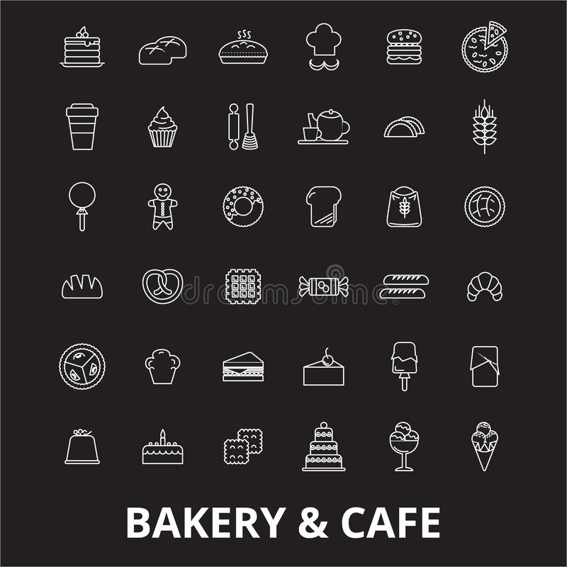 Bakery editable line icons vector set on black background. Bakery white outline illustrations, signs, symbols royalty free illustration
