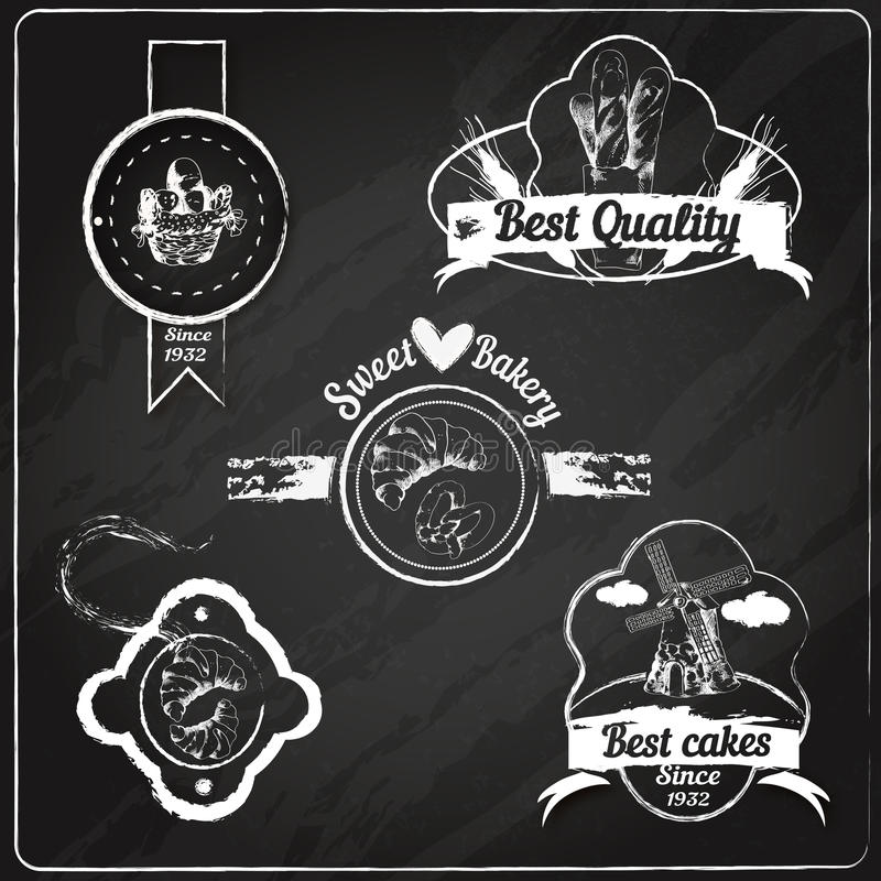 Bakery emblems chalkboard. Best cakes sweet bakery bread and pastry food chalkboard emblems set vector illustration stock illustration