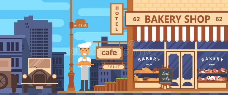 Bakery facade. Bakery facade. Crossroads of the metropolis. Bakery beginning of the 20th century. Retro style. Cakes and bread. Flat vector stock illustration