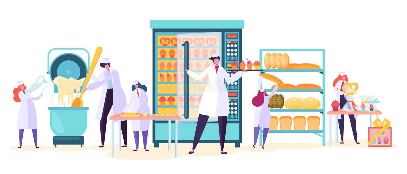 Bakery Factory Food Production Character. Bread Baker Machine Industry Plant. Worker Make Cake Dough vector illustration