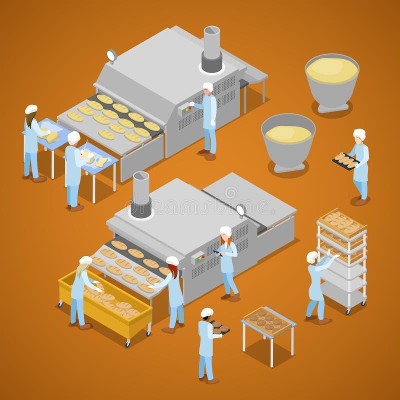Bakery Factory. Interior of Baking Production. Isometric flat 3d illustration. Bakery Factory. Interior of Baking Production. Isometric vector flat 3d royalty free illustration
