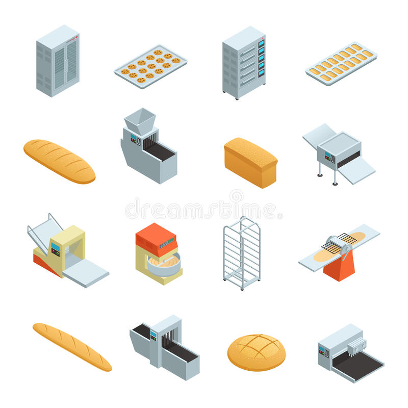 Bakery Factory Isometric Icon Set. Colored and isolated bakery factory isometric icon set with elements and tools for baking bread vector illustration royalty free illustration