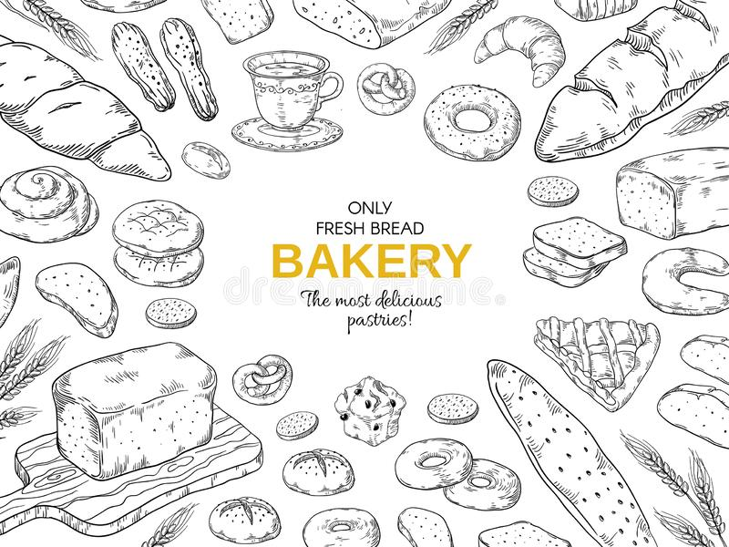 Bakery frame. Hand drawn bread and cookies banner for menu, sweet pies and cakes doodle design template. Vector bakery vector illustration
