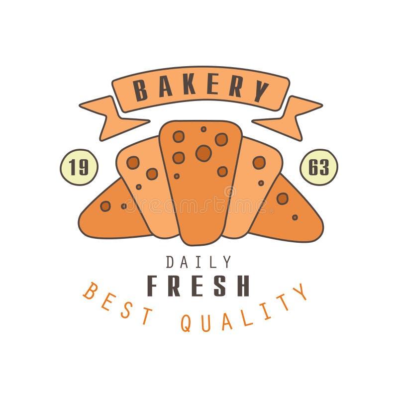 Bakery, daily fresh, best quality logo template, estd 1963, bread shop badge retro food label design vector Illustration. On a white background royalty free illustration