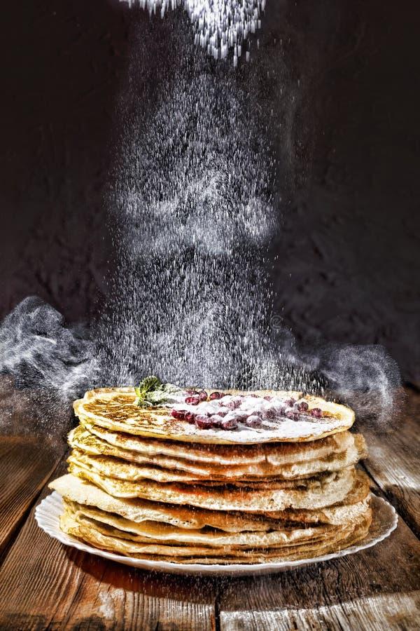 Bakery. Fresh bakery. Pancakes. International Pancake Day on 28 February. Russian pancakes, Shrovetide Mardi Gras stock photos