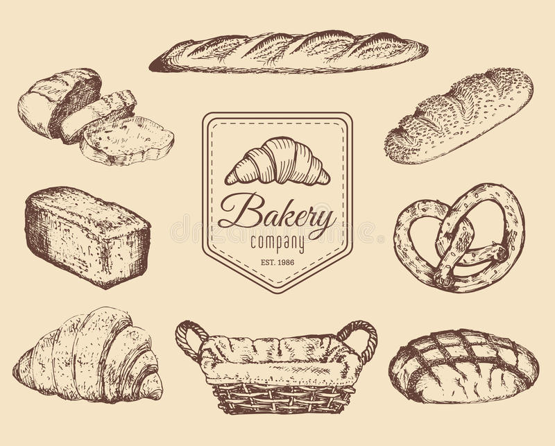 Bakery goods and sweets sketches set.Vector hand drawn bread illustrations for cafe,restaurant menu,food store logo etc. Bakery goods and sweets sketches set royalty free illustration