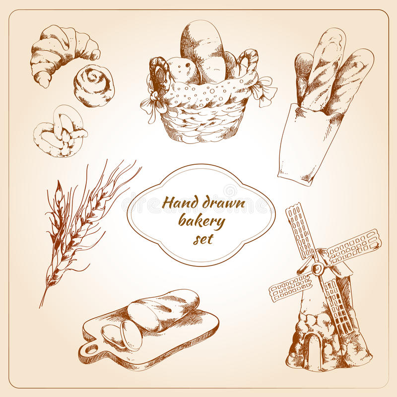Bakery hand drawn icons set. Bakery bread and pastry food hand drawn icons set isolated vector illustration stock illustration