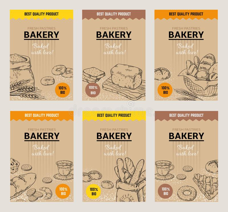 Bakery hand drawn posters. Vintage bread menu design template, sweet cookies and pies doodle sketch. Vector wheat flour. Bakery hand drawn posters. Vintage bread royalty free illustration