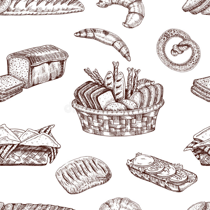 Bakery Hand Drawn Seamless Pattern royalty free illustration