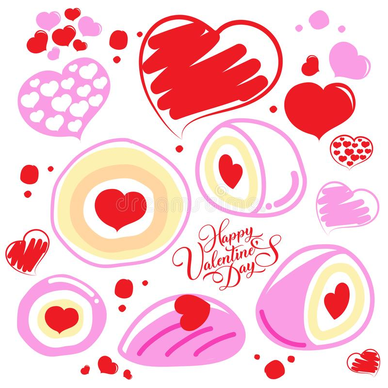 Happy Valentine`s Day. Bakery and Heart Love. Happy Valentine`s Day stock illustration