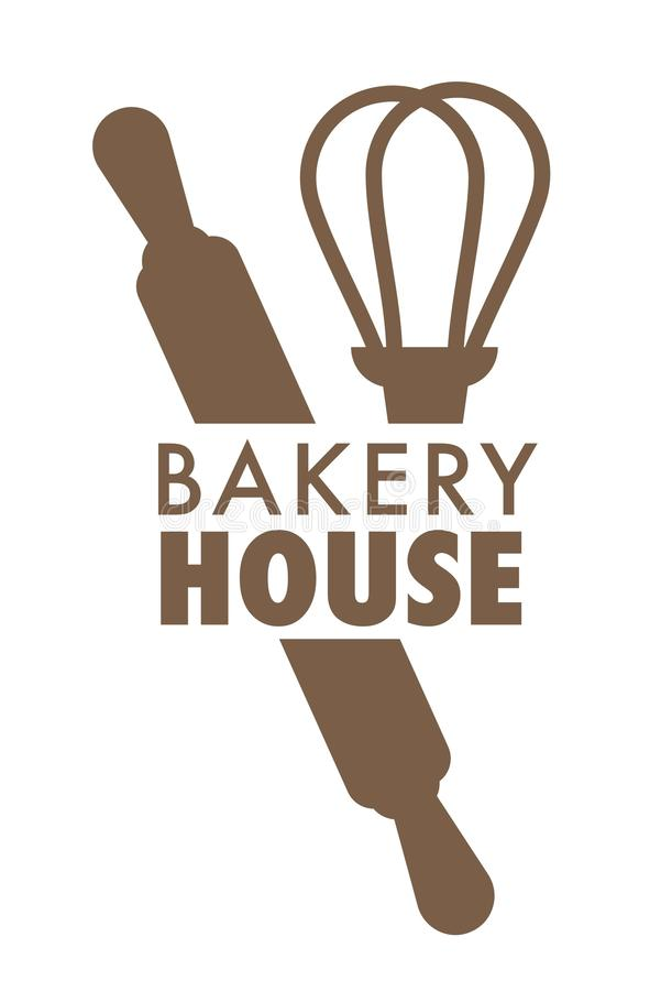 Bread bakery house isolated icon whisk and rolling pin vector illustration