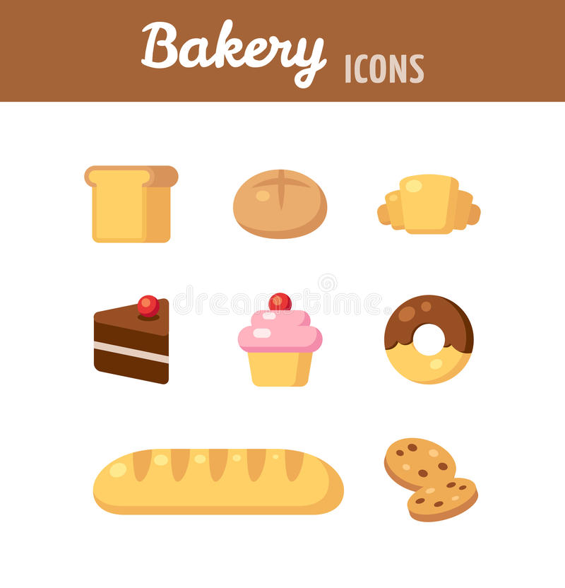 Bakery icons. Bakery icon set. Breads, desserts and various baked goods. Vector illustration in flat cartoon style stock illustration