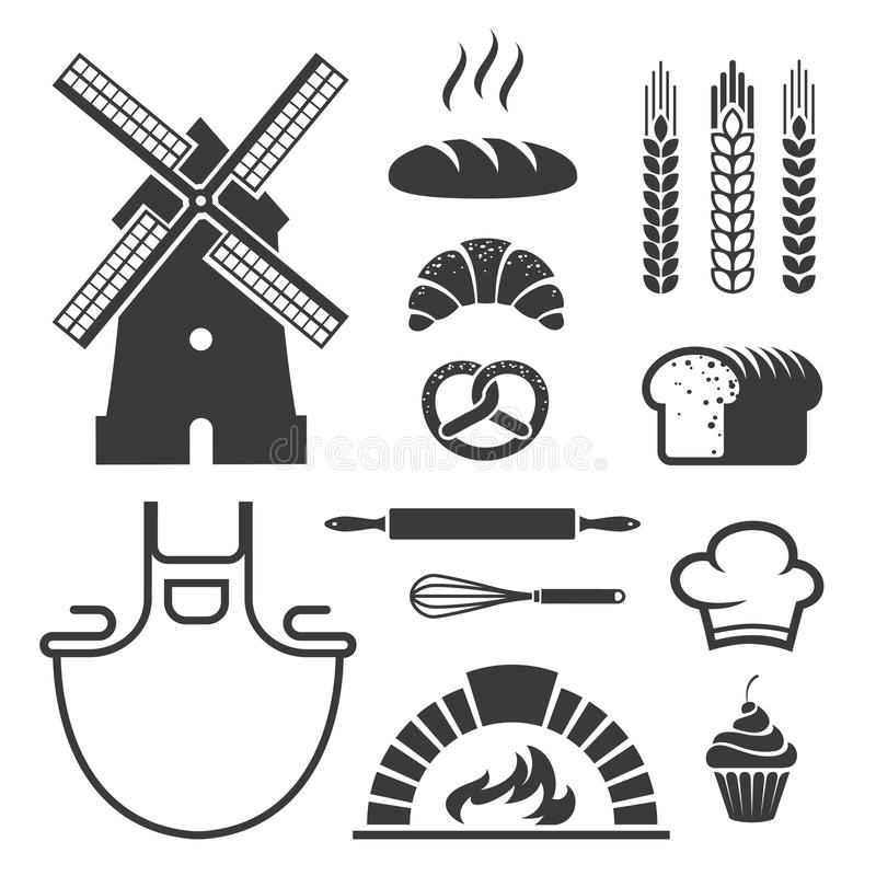 Bakery icons and symbols vector illustration