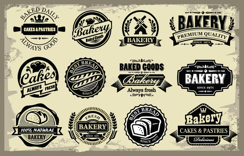 Bakery labels stock illustration