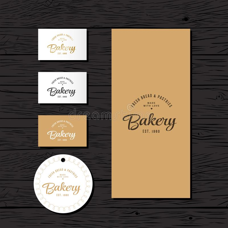 Bakery logo. The bakery identity. A package, a price tag and a business card of the bakery. royalty free illustration