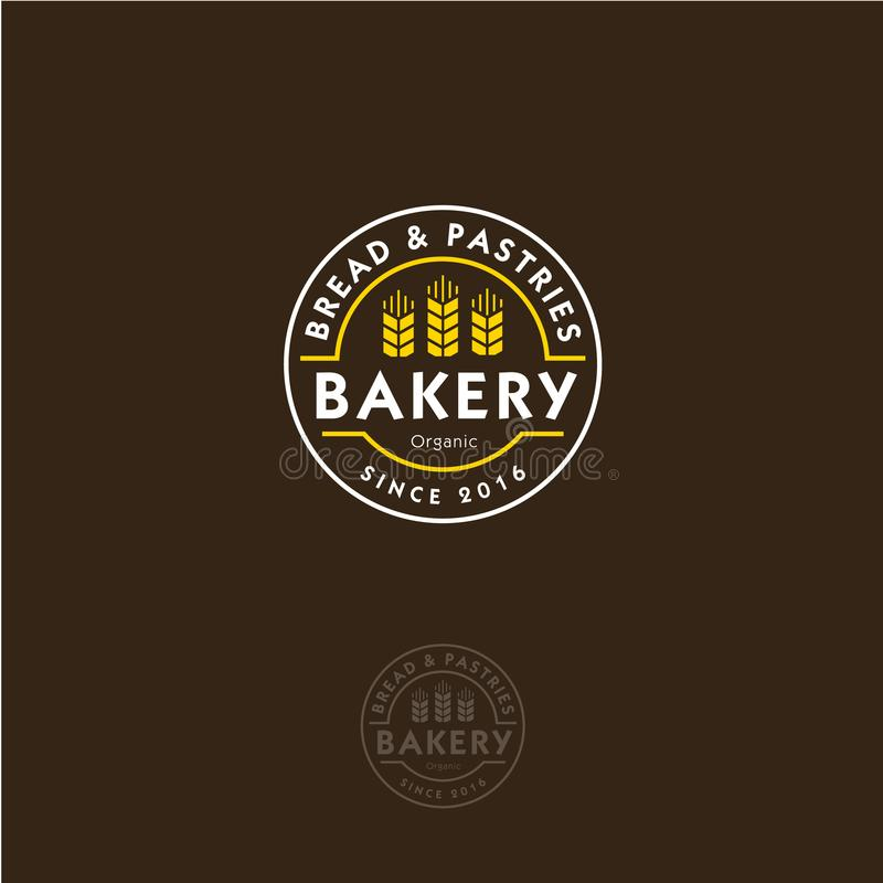 Bakery logo. Bakery emblem. Lettering and spikelet in a circular badge. royalty free illustration