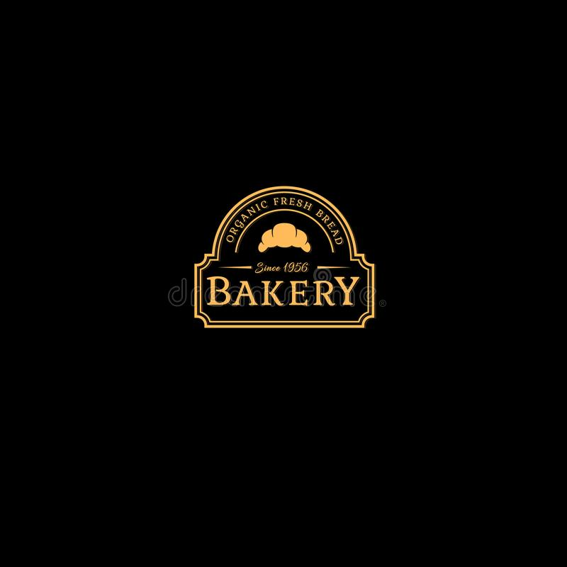 Bakery logo. Fresh bread logo. Letters and croissants in the line form. royalty free illustration
