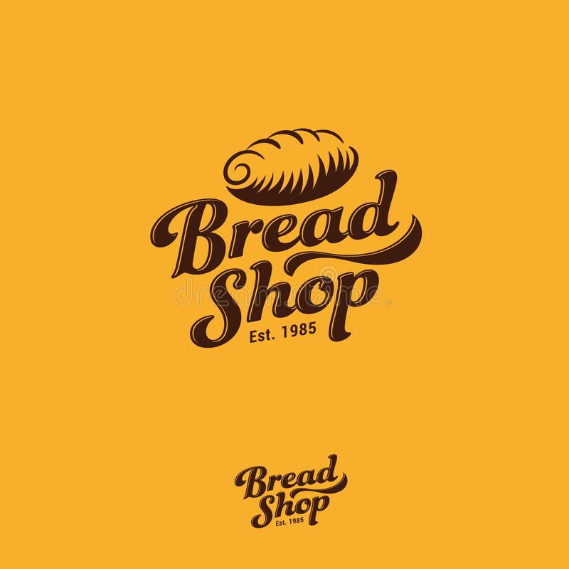 Bakery logo. Fresh bread and pastry emblem. Letters and bread vintage logo. Vintage gold sign. Monochrome option royalty free illustration