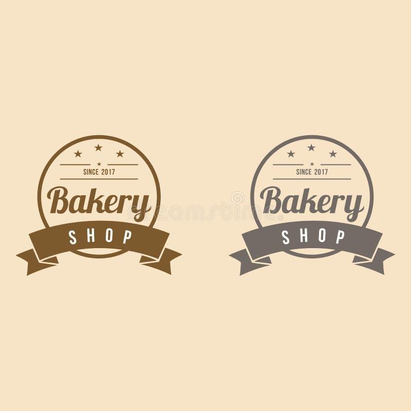 Bakery Logo with Ribbon Vintage Design Vector Illustration Icon royalty free illustration