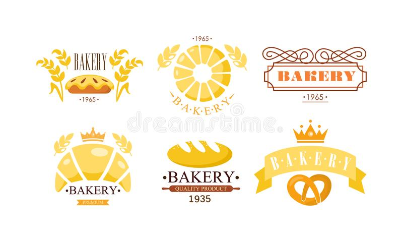 Bakery logo set, bakehouse retro badge fresh bakery products and pastries vector Illustration on a white background vector illustration
