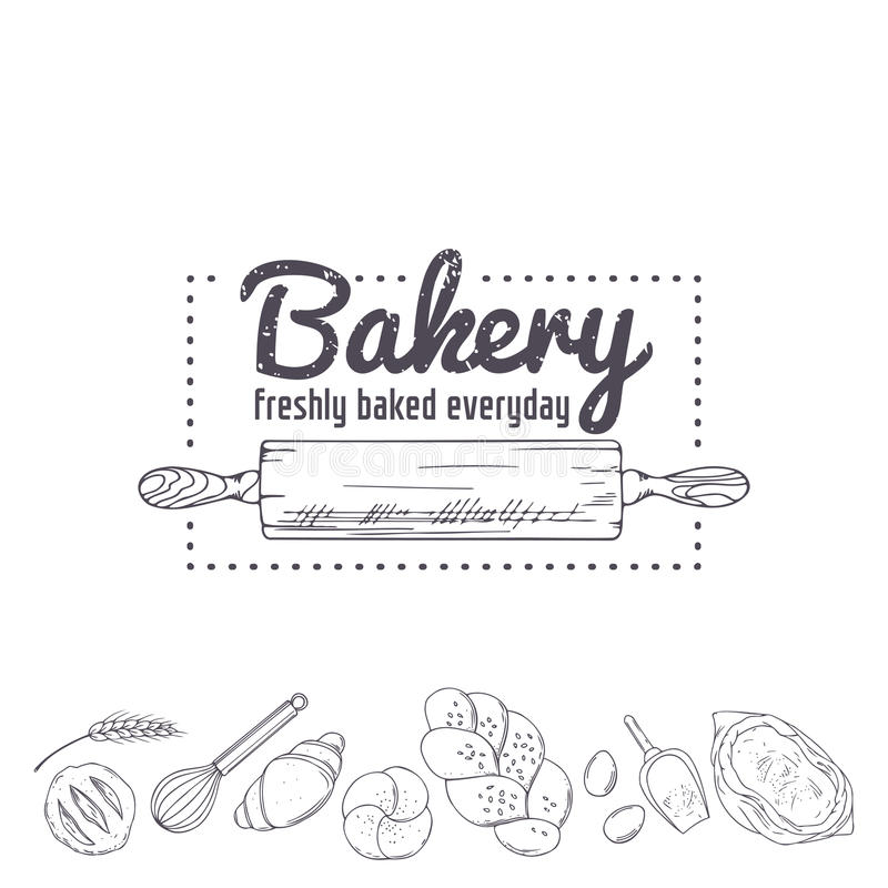 Bakery Logo Template Hand Drawn Rolling Pin And Baking